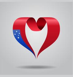 Samoan flag heart-shaped ribbon vector