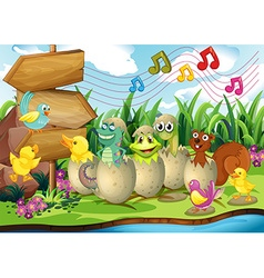 Scene with animals in the shells vector
