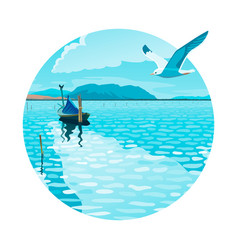 Seascape with a boat and a seagull vector