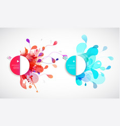 Set of abstract colored flower background with vector
