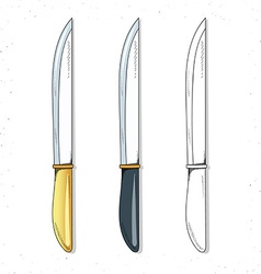 Set realistic sketch knives Knives for design vector image