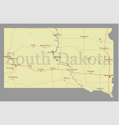 south dacota accurate high detailed state map vector image vector image