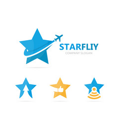 star and airplane logo combination vector image vector image