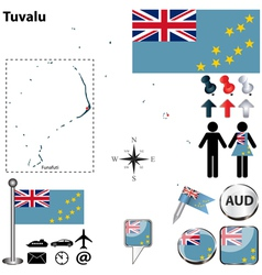 Tuvalu map vector