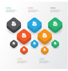 Types icons set collection of folio database vector