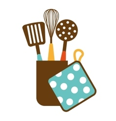 Kitchen equipment utencils icon vector