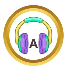 Language learning headphones icon vector