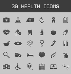 Dark healthy and medicare icon set vector