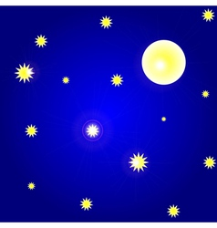 sky with moon and stars vector image