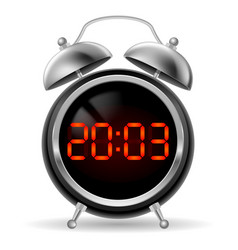 retro round alarm clock with modern digital face vector image