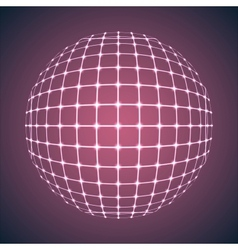 Illuminated purple mesh sphere vector