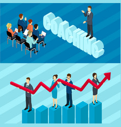 Isometric business education horizontal banners vector