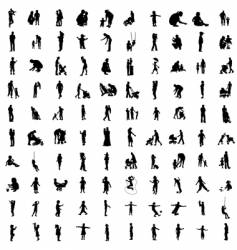 one hundred silhouettes of parents vector image