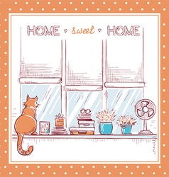 Home sweet cardwindowsill with home love objects vector