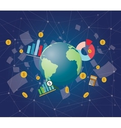 Global economy with planet earth world money graph vector