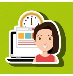 Woman and computer isolated icon design vector