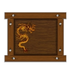 Chinese dragon on the wooden frame vector