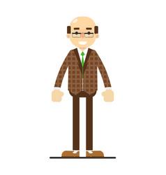 Adult bald man in brown suit and tie vector