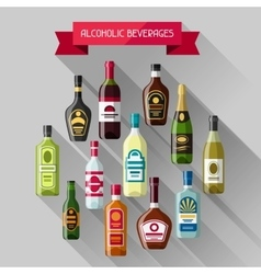 Alcohol drinks background design Bottles for vector image