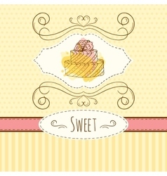 Cake hand drawn card with vector