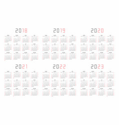 Calendar 2018 2019 2020 2021 2022 2023 vector