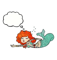 Cartoon mermaid with tattoos with thought bubble vector