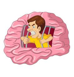 Cartoon of a man breaking free from brain vector