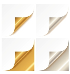 Curled golden and silver page corner vector image