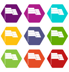 flag icon set color hexahedron vector image vector image