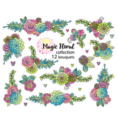 Flower set with hand drawn succulents vector
