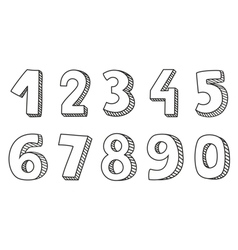 Hand drawn numbers isolated on white background vector