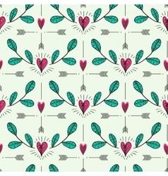 Hearts twig and arrows pattern vector image vector image