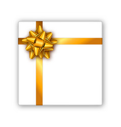 holiday gift box with golden ribbon and bow vector image vector image