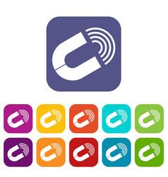 Horseshoe magnet icons set vector