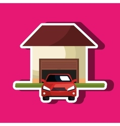 House with car in the garage isolated icon design vector
