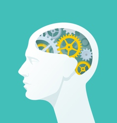 Human head with gears Head thinking vector image vector image