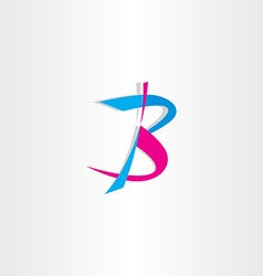 Letter b logo cyan magenta icon vector