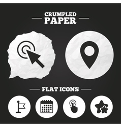 Mouse cursor icon Hand or Flag pointer symbols vector image vector image