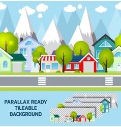 Provincial town landscape parallax ready vector image vector image