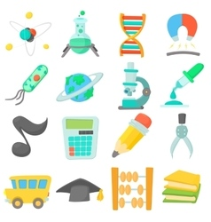 Science education icons set cartoon style vector