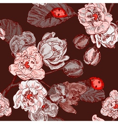 Seamless floral background with ladybugs vector