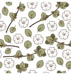 Seamless pattern with apple flowers vector