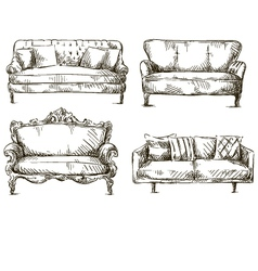 set of sofas drawings sketch style vector image