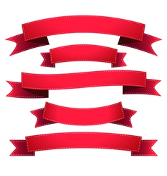 Set ribbon red vector image vector image