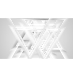 Shiny grey smooth triangles tech background vector