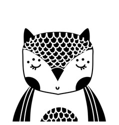 Silhouette adorable owl wild animal of the forest vector