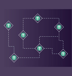 Tether cryptocurrency circuit network background vector