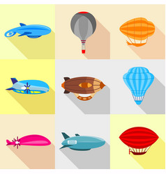 Types of airship icons set flat style vector