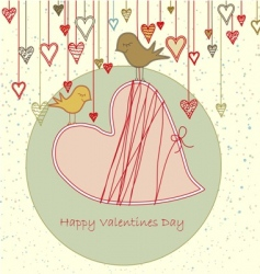 valentine greeting with cute birds vector image vector image