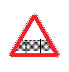 Warning sign attention with barbed wire fence vector